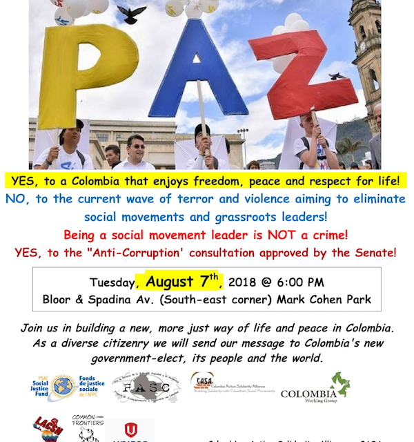 International Days for Peace in Colombia and against Death Squad and State Terror: August 5-11 Take part in the August Days for Peace in Colombia!